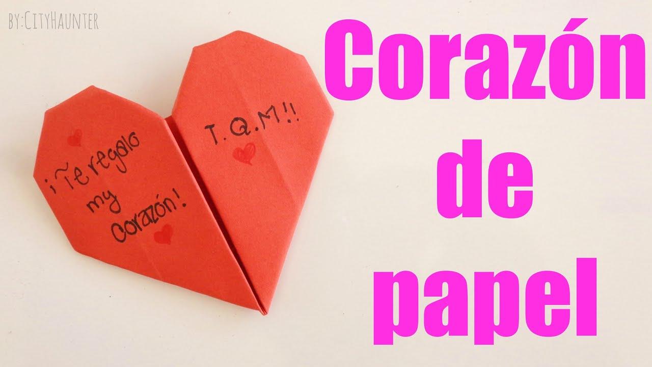 Como hacer un coraz n de papel facil san valentin - Corazones de san valentin ...