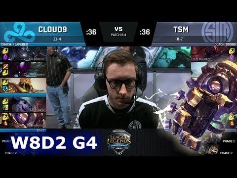 Cloud 9 vs TSM   Week 8 Day 2 of S8 NA LCS Spring 2018   C9 vs TSM W8D2 G4