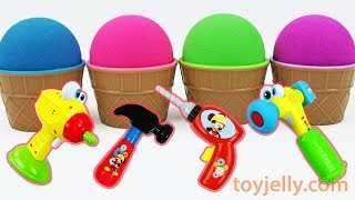 Learn Colors Kinetic Sand Ice Cream Surprise Cup Mickey Mouse Tool Baby Toys Pocoyo Kinder Joy