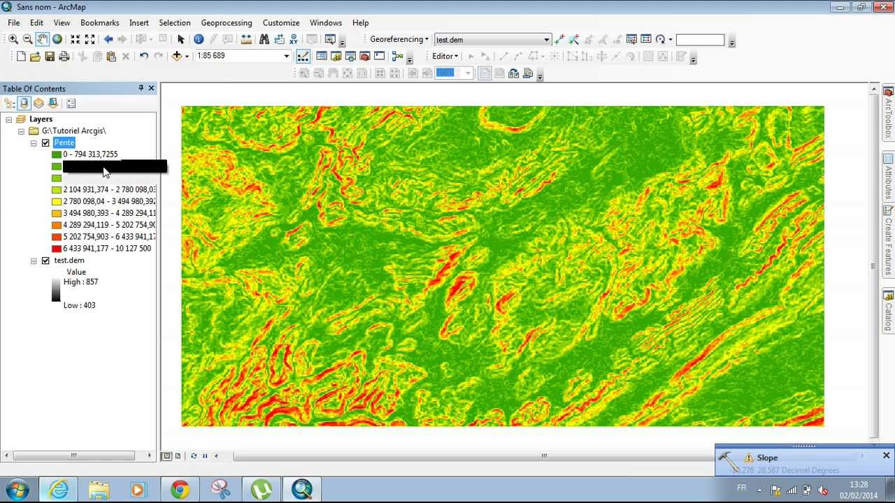 Slope values from DEM using ArcMAP 10.2 - ArcGIS Spatial