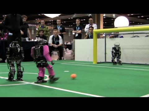 Little Soccer Robots Dribble, Kick, Score