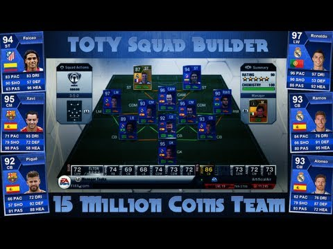 15.0 MILLION COIN TOTY Squad Builder - RONALDO - FIFA 13 - Ultimate Team