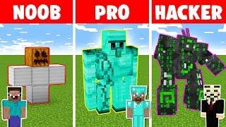 Minecraft NOOB vs PRO vs HACKER: IRON GOLEM CHALLENGE in minecraft - Animation