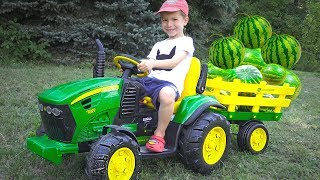 Tractor is Broken Down while transporting Watermelon Damian Ride on Power Wheels Truck for Kids to h