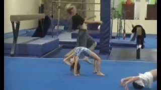 5 year old Kaylee at Tumbling class doing round off back hand spring