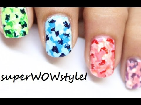 colorful camouflage nails  with toothpick   no tools