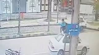 Live Accident CCTV Footage  What a Lucky Man
