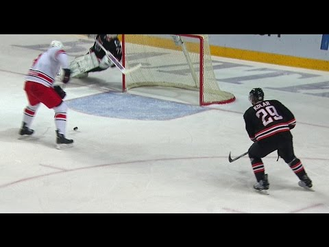 Juha Metsola remarkable stick save on Alexei Mikhnov