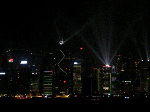 Hong Kong Laser show - Bank of China tower a go go