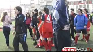 Girls fight in a football match