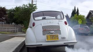 Subaru 360 two stroke Cold Start... ridiculous unbelievably smokey !