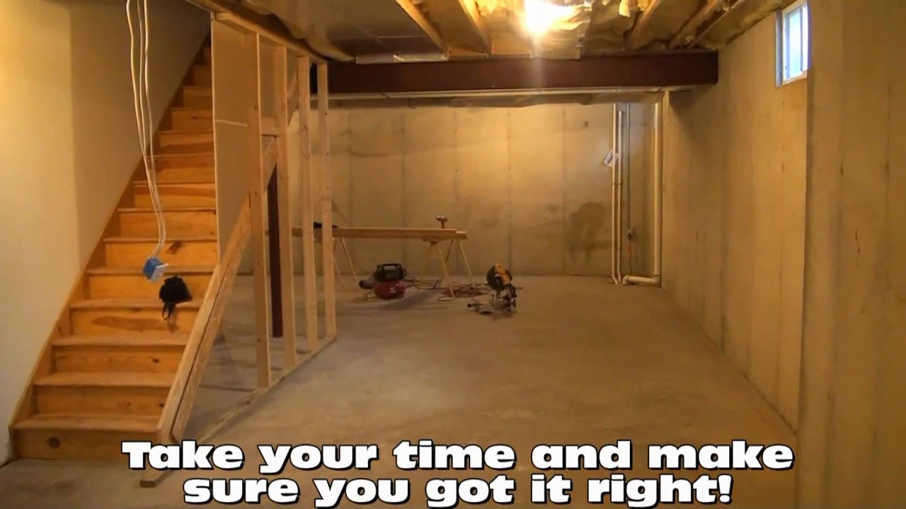 Basement framing layout tips youtube for How to build floating walls in basement