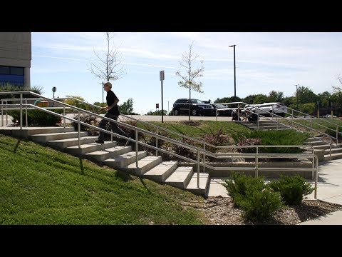 Dustin Blauvelt behind the scenes crooked grind handrail