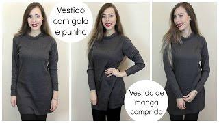 Como costurar Vestido de manga comprida com gola e punho | Vestido de inverno fácil
