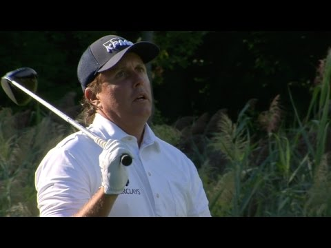 "Phil Mickelson ""Oh no not again!"" shot into hospitality"