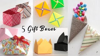5 Easy Gift Boxes | Paper Boxes | DIY Activities