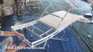 Hướng dẫn cách đan giường nằm hồ bơi 443 tại xưởng đan mẫu Minh Thy Furniture