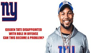 New York Giants- Golden Tate upset with his role in the offense off of loss to Minnesota Vikings