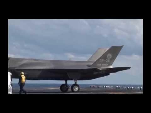 Вертикальная посадка  F 35B на авианосец. Авиация НАТО.