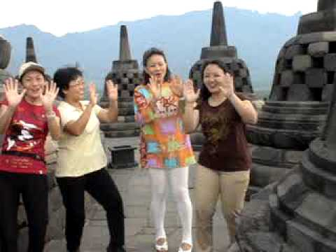Laughter Yoga at Borobudur Temple, Indonesia