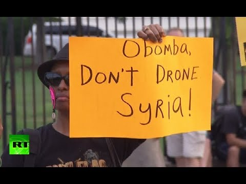 'Obomba, don't drone Syria!' Protesters rally against attack