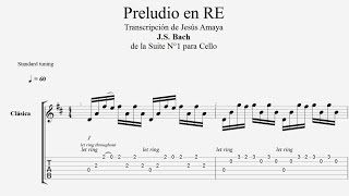 Tablatura Guitarra Bach: Preludio en Re Mayor - Jesús Amaya...
