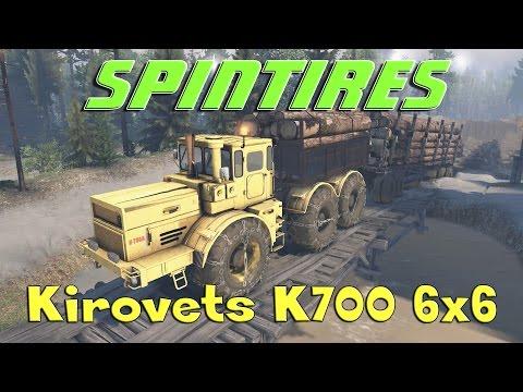 SpinTires обзор мода ( Kirovets K700 6x6 для 25.12.15 )
