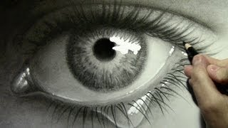 Realistic Eye with Teardrop_ Drawing Time Lapse