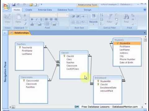 Create Access Database Free Training School Database