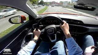 NEW Audi Q3 35 TDI S tronic POV City Drive + Automatic  Emergeny Braking System in Action