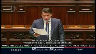 Coronavirus, l'informativa urgente del Presidente Giuseppe Conte alla Camera