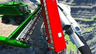 BeamNG drive - Can We Push An Airplane & School Bus From The Cliff With Cars ?