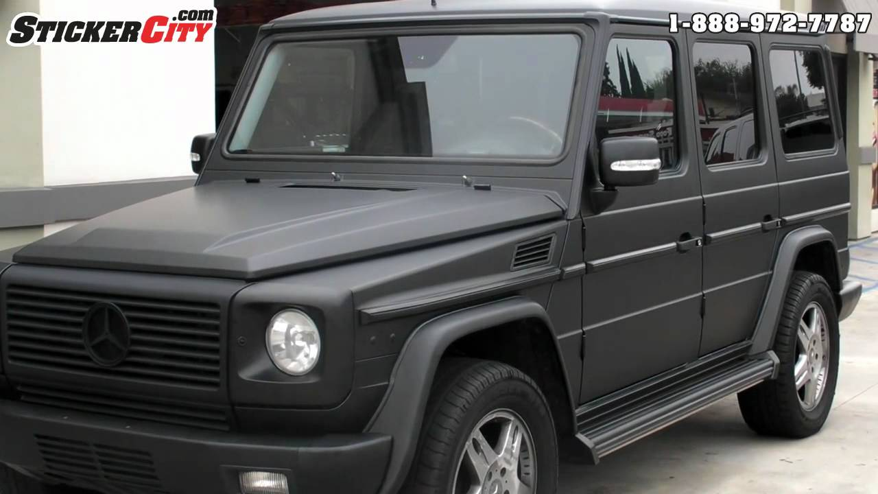 Matte black mercedes g wagon by stickercity com youtube for Mercedes benz g wagon black matte