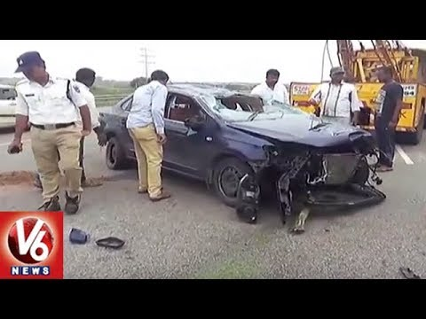 Road Accident In Hyderabad | 1 Killed, 3 Severely Injured As Car Overturns On ORR | V6 News