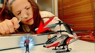 Den Superhero ride on toy Helicopter in child Ant-Man Costume