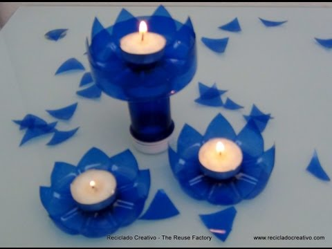 How to make a candleholder with a plastic bottle. Cómo hacer un portavelas con una botella plástico