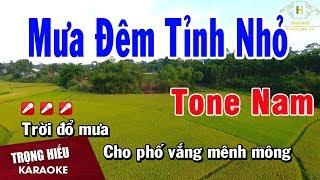 Karaoke Mưa Đêm Tỉnh Nhỏ Tone Nam Nhạc Sống | Trọng Hiếu
