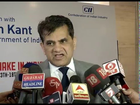 Amitabh Kant speaks to media persons in Ahmedabad Gujarat