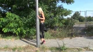 TAMIA IN HIGH HEELS AND WET LOOK LEGGINS SEXY WALKING