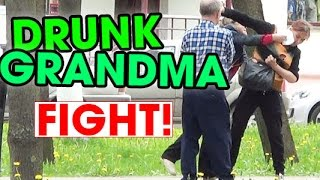 Drunk grandma fighting on the street in Russia