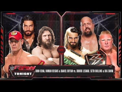 Wwe Raw 15 - John Cena, Roman Reigns & Bryan Vs Brock Lesnar, Big Show & Rollins - Wwe Raw Hd! video