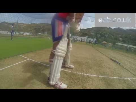 Bouncer! Liam Plunkett bowls short ball to Jonathan Trott in nets