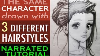 How to Draw Hair: 1 Character, 3 Styles [Narrated Tutorial]