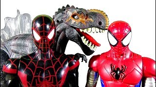 Go Armored Spiderman Toy & Kid Arachnid Toy! Defeat Battery Operated Dinosaur Toy! - LotsMoreToys