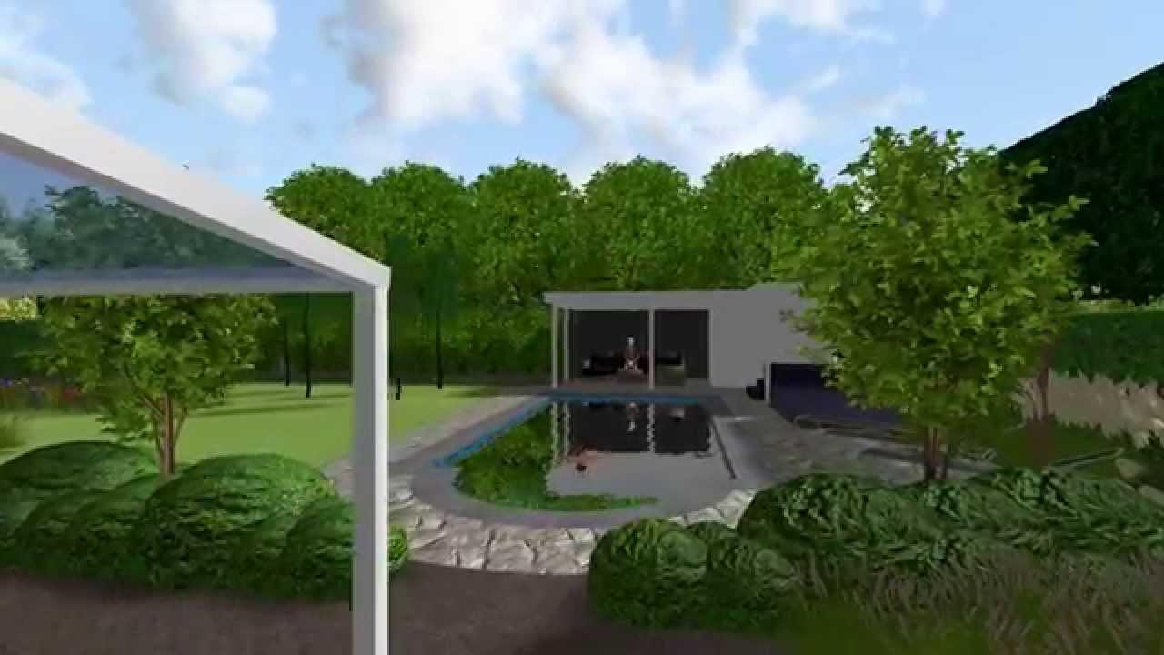 Herman vaessen 3d tuinontwerp strakke landelijke tuin met zwembad youtube - Tuinontwerp ...