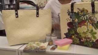Если сумка из необычного материала, например, соломенная, то можно сделать восхитительный декупаж. .