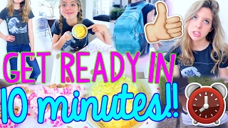 How to Get Ready for School in 10 MINUTES!! | Fast Outfit, Makeup, Hair + Breakfast!
