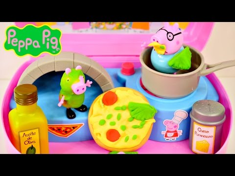 Play Doh Peppa Pig Mini Pizzeria Shop Playdough Pizza George and Grandpa Pig Toys
