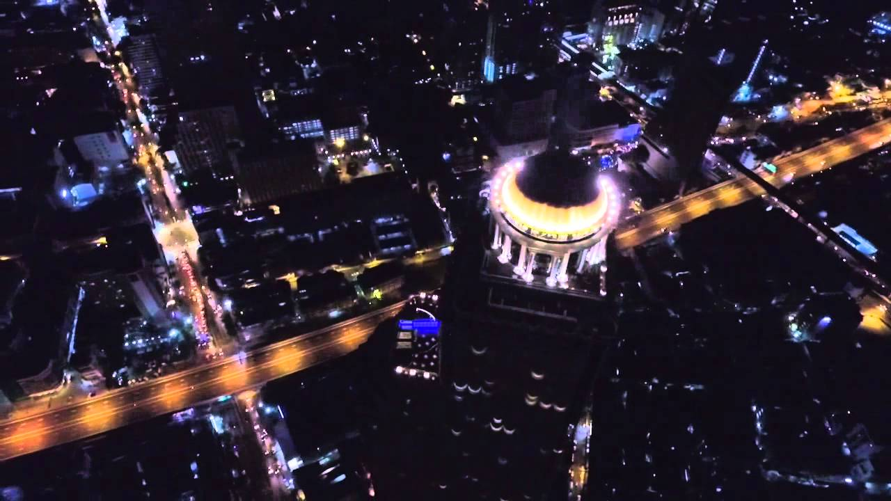 [Bangkok Chao Phraya River Night Aerial View with VTC Drone] Video