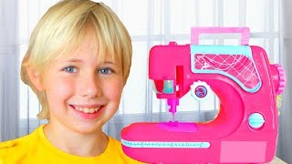 Yarik and Mommy playing with Toy Sewing machine